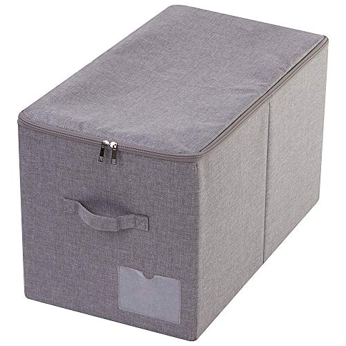 AMX 56(L) X 33 (W) X 32 (H) cm, Winter Clothes Storage Bins with Lid, Folding Garment Space Saving Basket with Handles, Compatible with IKEA PAX Closet Which Depth is 58 cm, Dark Gray