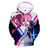 Darling in The Franxx 3D Stampato Hoodie, Zero Two Felpa Adulto Cosplay Pullover Anime Maglione Top H M