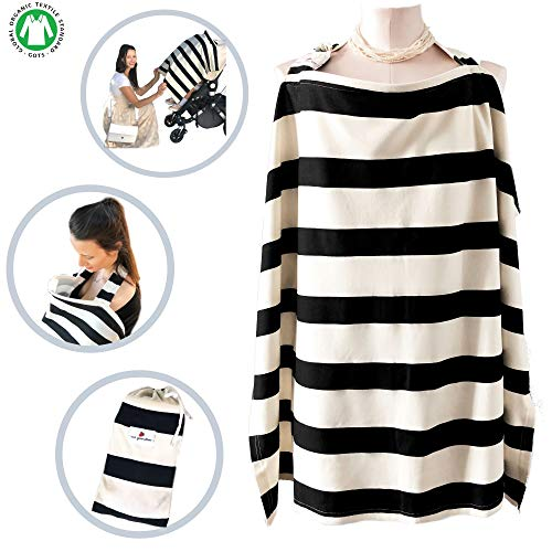 Raw Generation Nursing Cover   Multi-Use Breastfeeding Cover   Nursing Cover for Breastfeeding Babies   100% Organic Cotton with Wire Hoop   Chic Black & Cream Stripes  Free Pouch Bag  for Boy & Girl