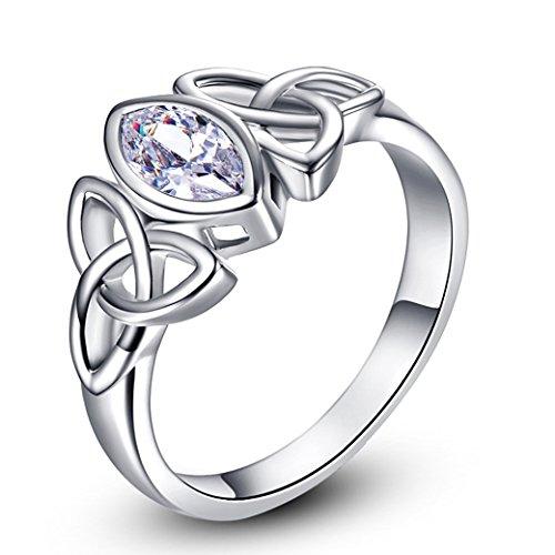 PAKULA Silver Tone Women Simulated Cubic Zirconia Irish Celtic Knot Ring Size 7