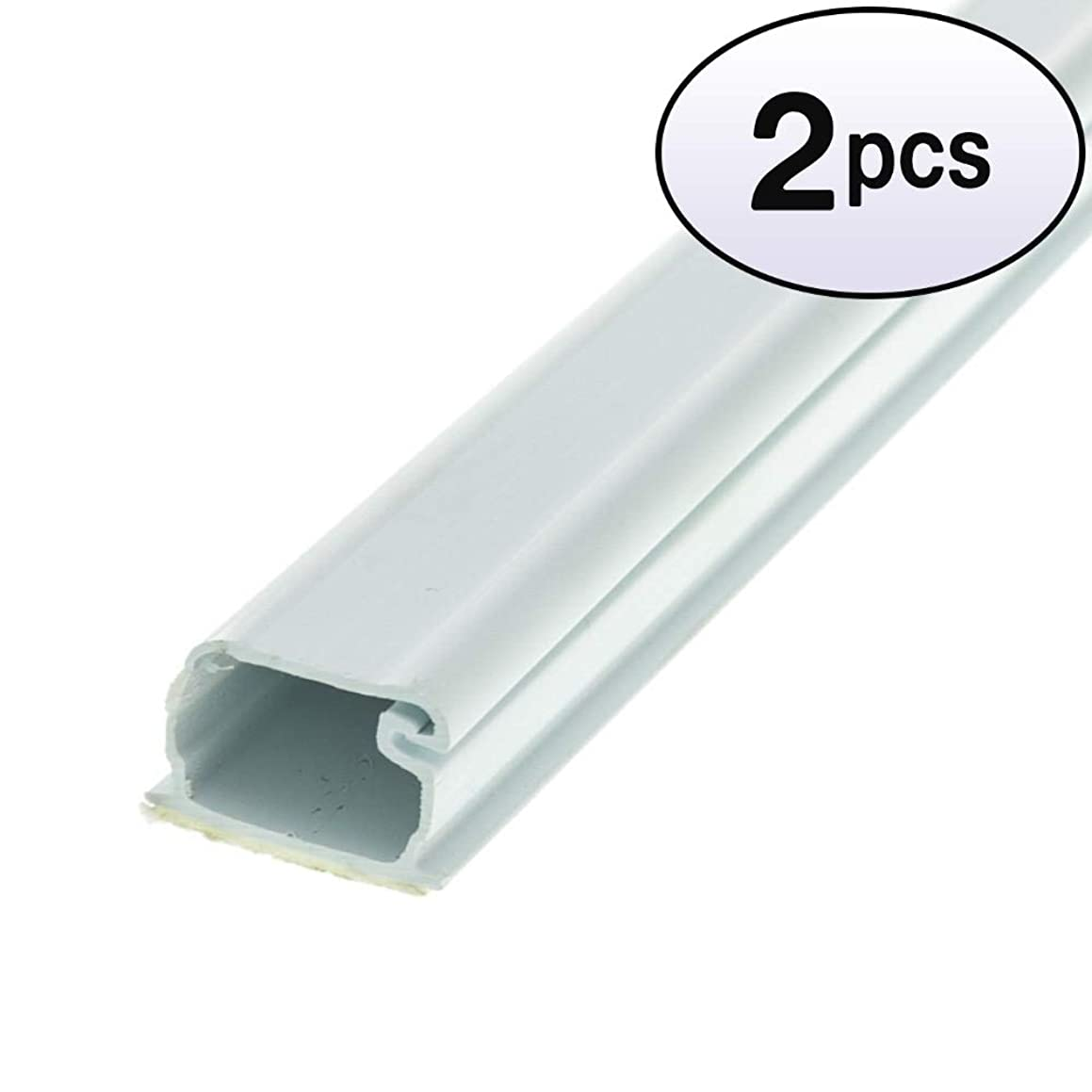 GOWOS (2 Pack) 1.25 inch Surface Mount Cable Raceway, White, Straight 6 Feet Section