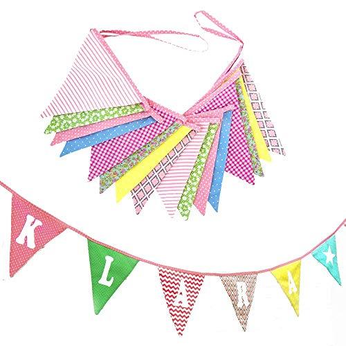 Elefantasie Wimpelkette mit Namen oder Text personalisiert aus Stoff für´s Kinderzimmer rosa