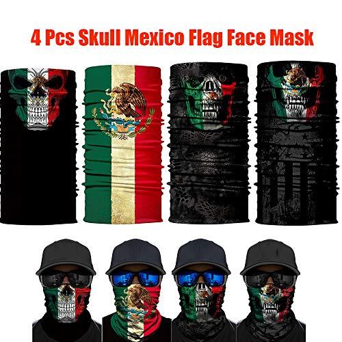 unbrand 4PCS Balaclava Mexico Flag Outdoor Face Mask Neck Gaiter Headwear Half Face Sun Mask Magic Scarf Bandana Headband Dust-Proof UV Protection for Halloween Motorcycle Cycling Fishing Skiing