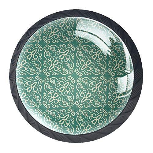 Glastürknauf / Schubladenknauf, Kaninchenmotiv, Gelb, 4 Stück, Grünes Tapetenmuster, 3.5×2.8CM/1.38×1.10IN