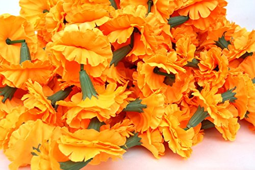 Buycrafty Guirnalda de caléndula de 5 pies de largo, guirnalda de flores, flores de boda indias, caléndula, juego de 10+1 gratis, decoración de fiestas, bodas, Deepavali