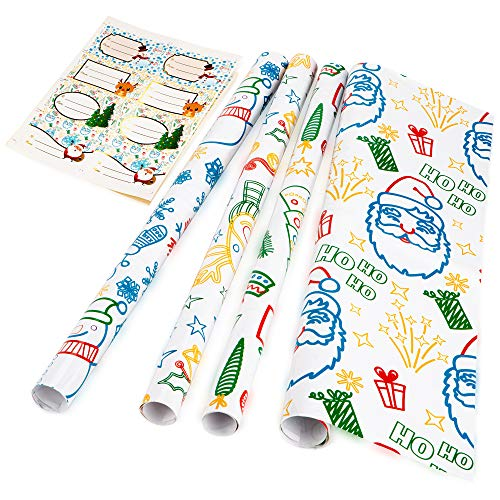 Christmas Gift Wrapping Paper Sheets, 4 Classic Holiday Colors with Reindeer, Santa, Xmas Trees, and Cute Snowman, Fun and Kid Friendly, 10 Name Label Stickers