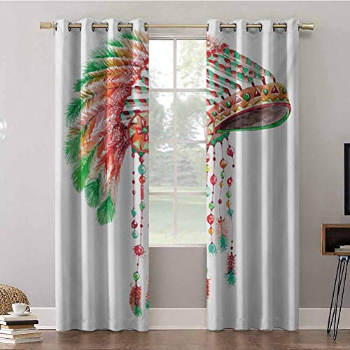 Cortinas opacas, 42 x 63 x paneles de cortina aislados trmicos, tribales jefe disfraz tocado nativo americano cultura S, cortinas oscurecedoras para habitacin (2 paneles)