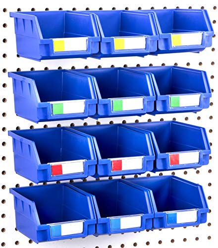 Pegboard Bins - 12 Pack Blue Large - Hooks to Any Peg Board - Organize Hardware, Accessories, Attachments, Workbench, Garage Storage, Craft Room, Tool Shed, Hobby Supplies, Small Parts