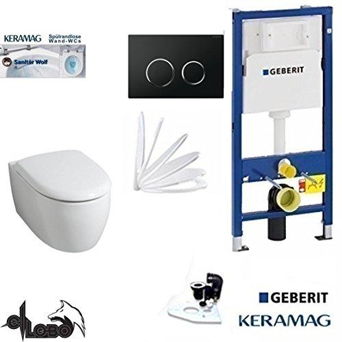 Geberit Duofix UP 320 Vorwandelement mit Sigma 20 SCHWARZ, Keramag ICON XS, rimfree, Spülrandlos, Tiefspül-WC, inkl. Sitz,Keratect Beschichtung