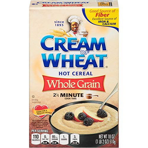 Cream of Wheat Whole Grain Hot Cereal, 2 1/2 Minute Cook Time, 18 Ounce (Pack of 12)