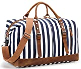 Overnight Bag Weekender Women Men Travel Duffel Bag Canvas Genuine Leather Luggage Weekend
