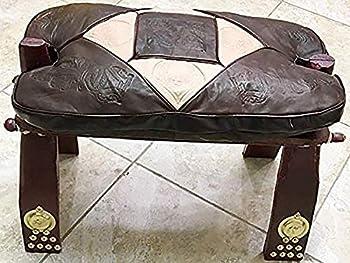 Vintage Egyptian Camel Foot Stool Ottoman Saddle Leather Wood