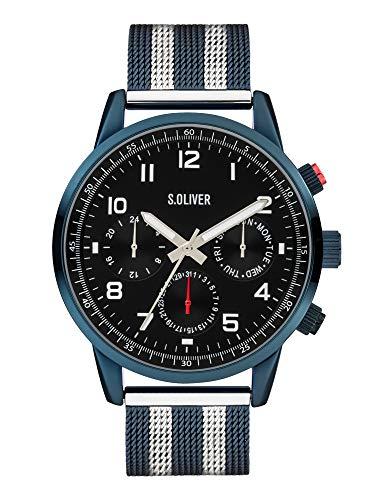 s.Oliver Herren Analog Quarz Uhr mit Edelstahl Armband SO-3989-MM