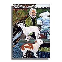 Swarouskll犬と一緒にボートに乗ったグッドフェローズの男映画の絵画のポスターとプリント装飾的な壁のアート写真を掛ける準備ができて-40X60cm木製フレーム