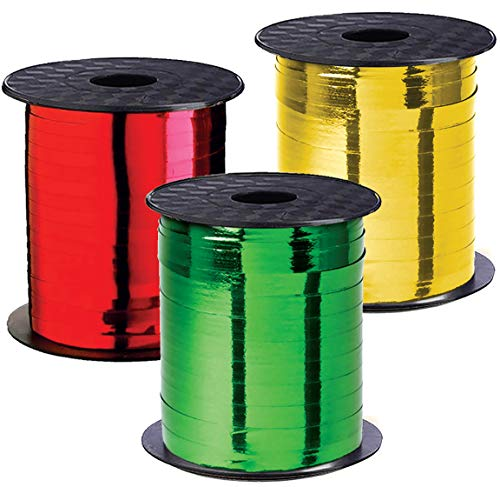 Christmas Ribbon - Curling Gift Ribbon Xmas Set of 3 Rolls Red Green Gold Curling Ribbons Thin for Holiday Gifts Wrapping & Decoration