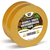 TSSART 2Pack Double Sided Woodworking Tape, Strong Residue Free Wood Tape for Woodworkers - 1 inch Wide 108FT Long (216FT Total)