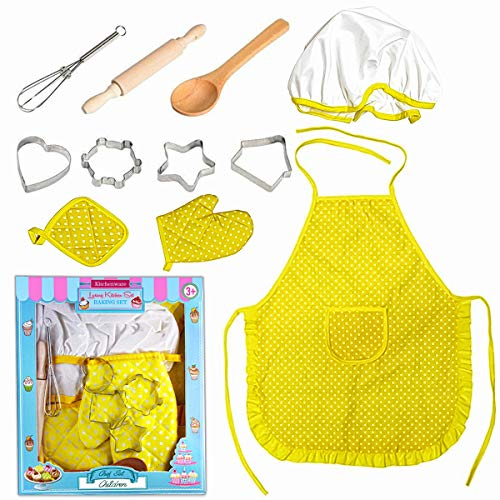 UBANTE Kids Cooking and Baking Set, Kids Cooking Playset, Chef Dress Up Outfit Set with Kids Apron, Chef Hat and...