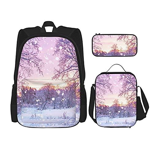 Winter Print Rugzak Voor Jongens Tieners Bookbag Reizen Dagrugzak, Lunch Bag En Potlood Case Combinatie