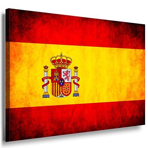 Flagge Spanien Leinwandbild / LaraArt Bilder / Leinwand Bild + Mehrfarbig + Kunstdruck fl27-1 Wandbild 40 x 30 cm