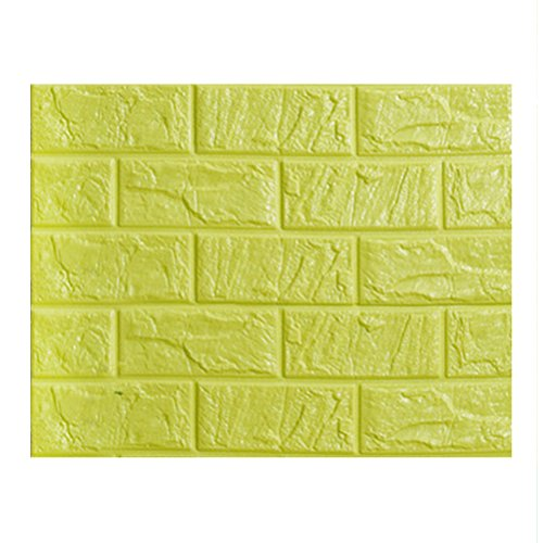 WINOMO Peel and Stick 3D Wall Mural PE Mousse DIY Papier peint auto-adhésif 60x30cm (Vert Fluorescent)