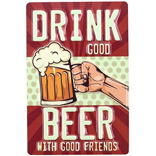 Imán Beber buena cerveza con buenos amigos | Mini placa de hojalata de 9x6 cm con perforaciones en relieve | Para cerveza y bar