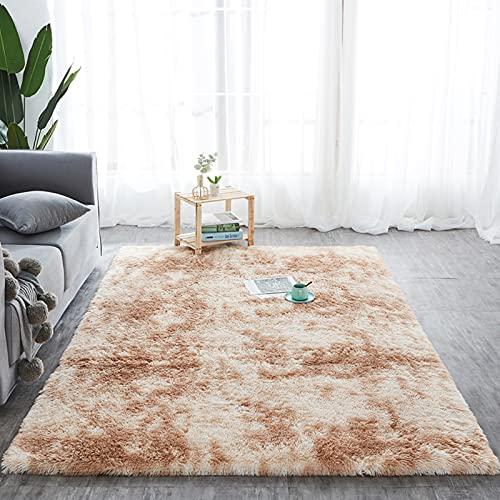 Alfombra de pelo largo para salón, suave área de rea, dormitorio, Shaggy, dormitorio, alfombra de cama, exterior, color caqui, 160 x 200 cm