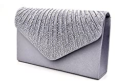 Envelope Type Evening Clutch Crossbody In Gray