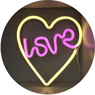 Love in Heart Neon Sign, LED Neon Light Sign for Party Supplies Girls Room Decoration Accessory for Summer Party Table Decoration Children Kids Gifts (Love in Heart)