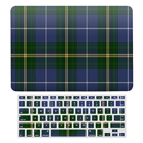 For MacBook Air 13 13 Inch Case A1466、A1369 Hard Shell Cover for MacBook Air 13 Case & Keyboard Cover, Nova Scotia Tartan Custom Blue Plaid Laptop Protective Shell Set