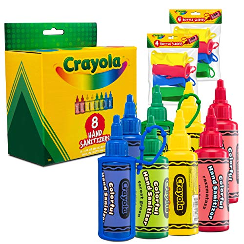 CRAYOLA Kids Hand Sanitizer Gel, (8-Pack) 2 oz Travel Size, 75% Ethyl Alcohol, Advanced No-Rinse Moisturizing Gel, Made in USA, 8 Colorful Matching Keychain Backpack Holders Included.
