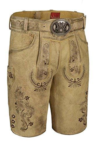 Moser Trachten Lederhose kurz mit Gürtel Sand Hugo 003860 von Moser®, Material Leder, Größe 48