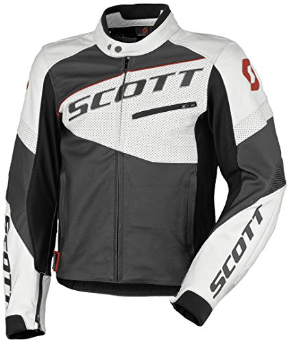 Scott Track Blouson Leder Motorrad Jacke schwarz/weiß 2019: Größe: XL (52/54)