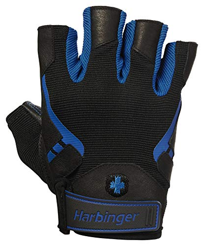 Harbinger Pro Non-Wristwrap Workout Weightlifting Gloves with Vented Cushioned Leather Palm (Pair) Blue X-Large