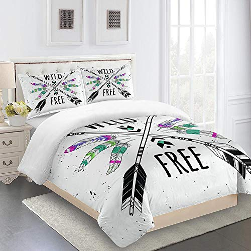 CHNXXL Bettwäsche Bettbezug Set 3 Teilig 240X220Cm Mit Reißveschluss Inklusive 2 Kissenbezug Weich Atmungsaktiv Polyester 3D Print Wild Frei Bettwäsche Für Erwachsene Und Jugendliche