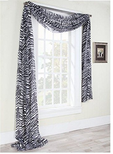 1kidandaheadache Beautiful Elegant Voile Sheer Valance Scarf 37' X 216' Topper in Zebra Animal Safari Print