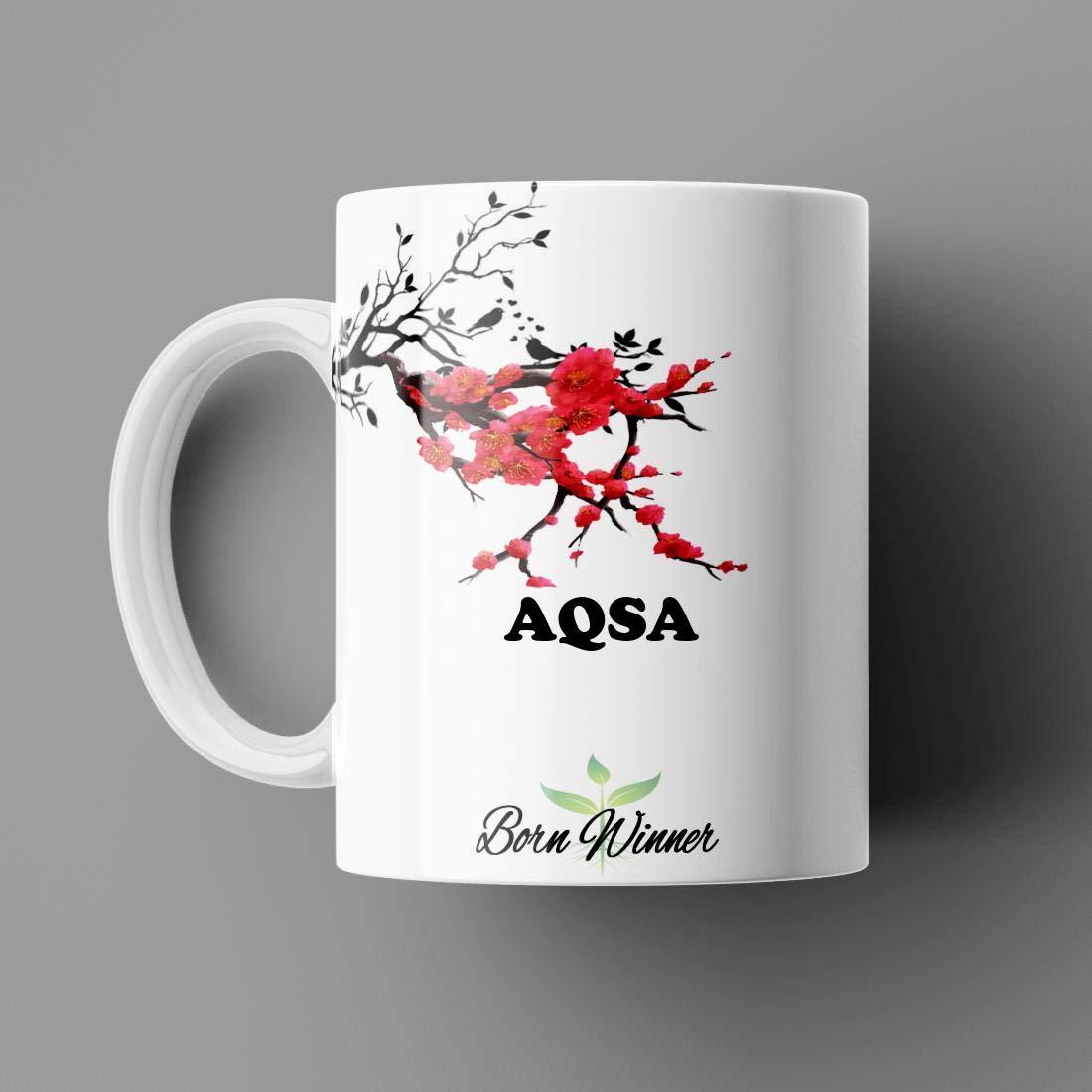 Name Printed Aqsa Name Mug for Coffee White Ceramic Mug (350) ml