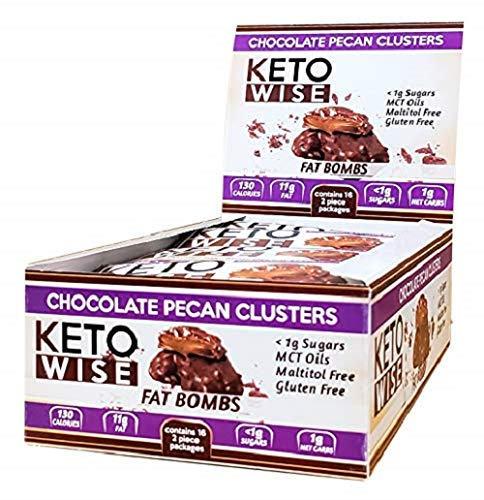 Keto Wise Fat Bombs, Chocolate Pecan Clusters,1.12 Ounce - Pack of 16