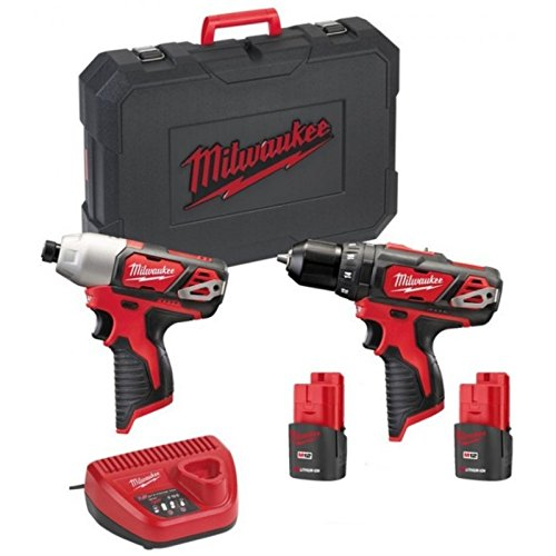 MILWAUKEE Pack M12 Taladro-Destornillador - Destornillador de impacto M12-2 Baterías 1.5Ah - 1 Cargador 4933459386