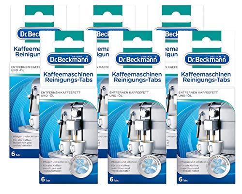 Dr. Beckmann Kaffeemaschinen Reinigungs-Tabs | entfernen Kaffeefett und -öl | mit Aktiv-Sauerstoff, 6er Pack (6x 6 Tabs)