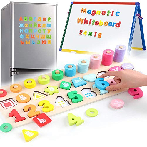3 en 1 Juguetes de Madera para Bebes Magnéticos de Madera para Chico Juego Matematicas Infantil Magnéticos para Niños Pequeños Niños Que Aprenden Rompecabezas Educativos A Partir de 3 Años