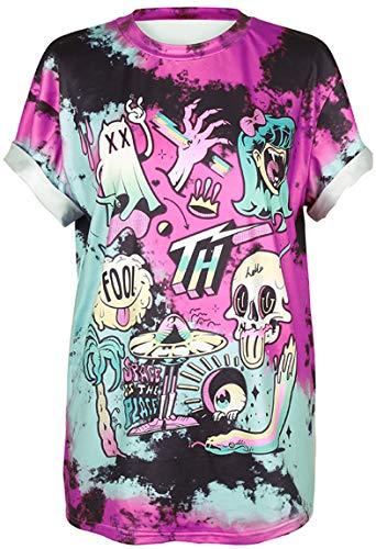 Ocean Plus Unisex 3D Stampa T-Shirt Graffiti Alien Maglietta Sportiva con Bottoni Pazzo Follia Allentata Loose Fit Camicie a Maniche Corte (S/M (Torace: 94-114cm), 011 Space is The Place)