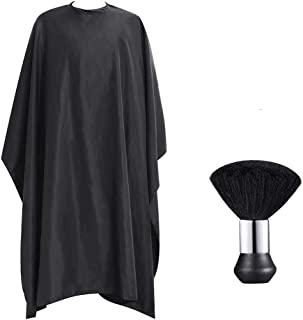 Barber Cape with Snap Closure, Professional Hair Styling Cape and Neck Duster Brush Included Hairdressing Salon Nylon Cover Fits for Barber and Home Use