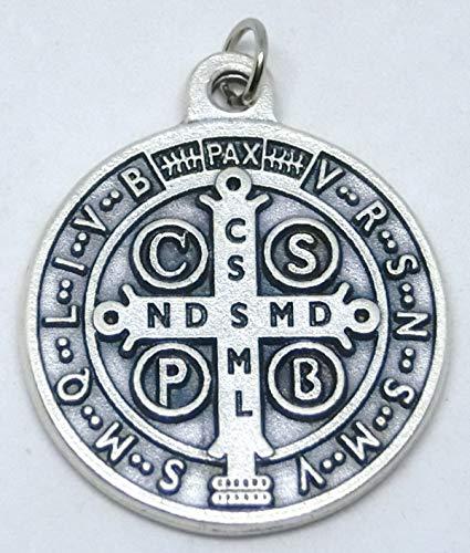 GTBITALY 60.049.30 medaglia di San Benedetto Argento da 3 cm con Anello esorcista esorcismo
