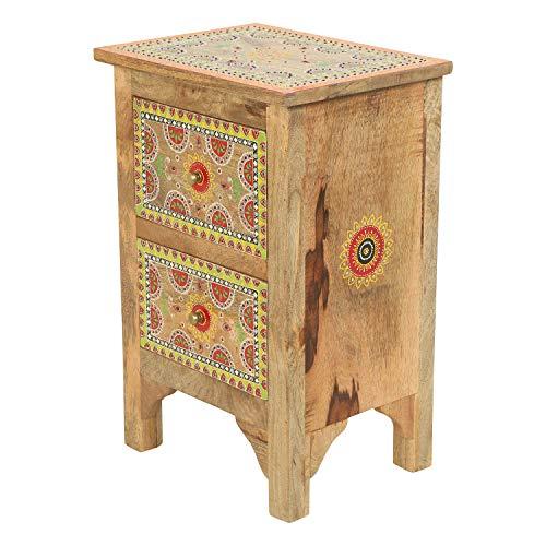 Casa Moro Orientalische Kommode Jivan mit 2 Schubladen aus Massivholz Mango bunt 40x30x60 cm (BxTxH) | Kunsthandwerk aus dem Orient | Handmade Nachttisch Schubladen-Kommode | RK45-60