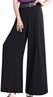 Vska Womens Bell Bottom Pants Casual Trousers Pure Color Ankle Jeans