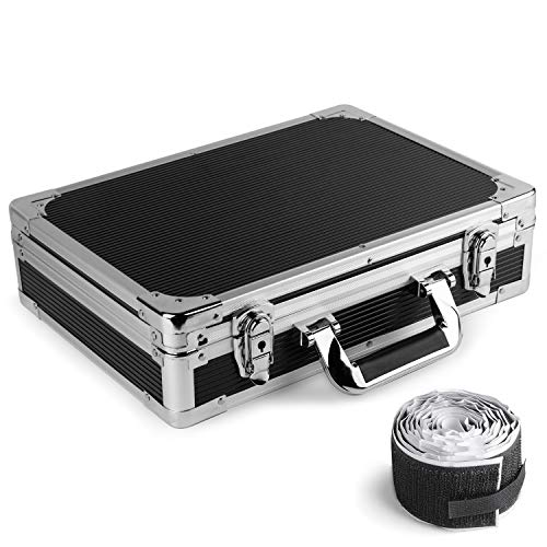 Vangoa Ghost Fire Sturdy Locking Aluminum Guitar Effect Pedal Case Locking with Aluminum Edge, Foam Padded Interior and Pedal Mounting Tape Fastener (15 x 10.8 x 3.74 in)