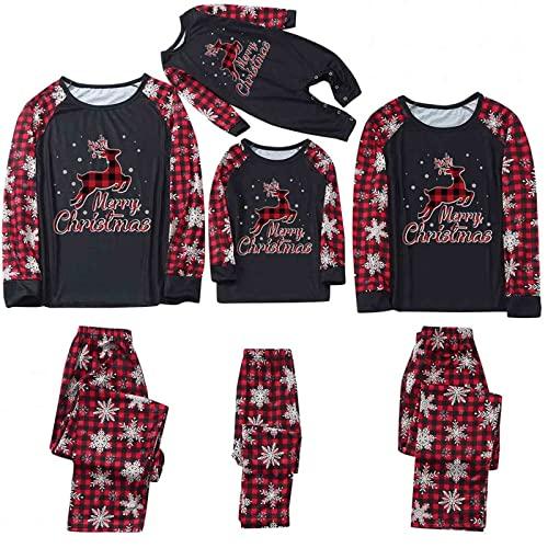 Christmas Pajamas for Family 2021, Plaid Reindeer Print Matching Pjs Set Xmas Long Sleeve Sleepwear Set
