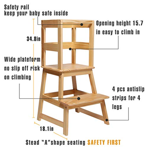 SDADI Kids Kitchen Step Stool with Safety Rail - for Toddlers 18 Months and Older, Natural LT01N