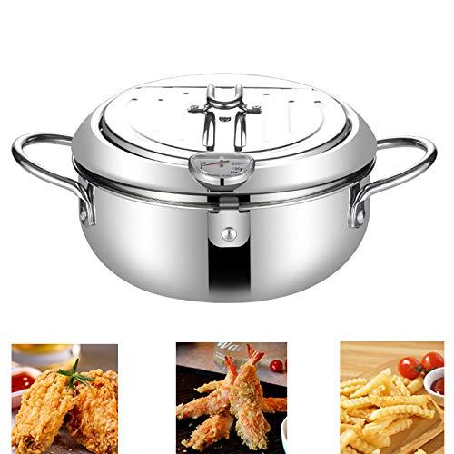 Freidora con termómetro, Freidora Tempura de acero inoxidable tapa y escurridor de aceites, Cocinar el recipiente de estilo antiadherente japonés para la cocina casera (20CM/7.9IN)