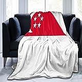Flanelldecke mit Flagge von Singapur, flauschig, bequem, warm, leicht, weich, für Sofa, Couch, Schlafzimmer